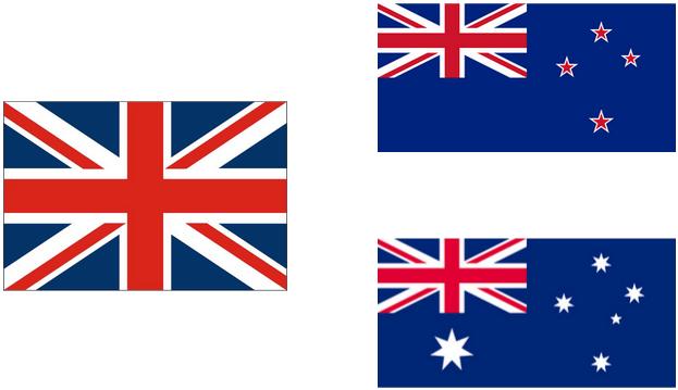 イギリス、オーストラリア、ニュージーランド国旗
